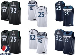 Camisa Minnesota Timberwolves - 32 Karl-Anthony Towns - 25 Derrick Rose