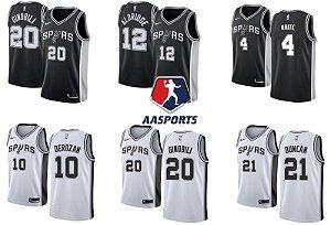 Camisa San Antonio Spurs - 4 Derrick White - 9 Manu Ginobili - 10 DeMar DeRozan - 12  LaMarcus Aldridge - 21 Tim Duncan