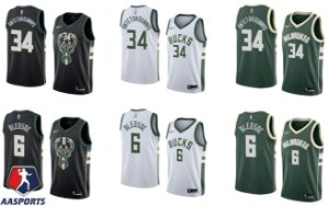 Camisa Milwaukee Bucks - 6 Eric Bledsoe - 34 Giannis Antetokounmpo