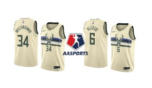 Camisa Milwaukee Bucks - 6 Eric Bledsoe - 34 Giannis Antetokounmpo - Cream City Edition Swingman