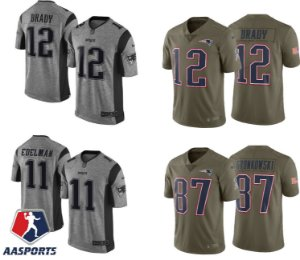 Camisa New England Patriots - 12 Tom Brady - 87 Rob Gronkowski - 11 Julian Edelman - Salute to Service - Color Rush - Gridiron Gray