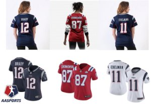 Camisa New England Patriots - 12 Brady - 87 Gronkowski - 11 Edelman - FEMININA
