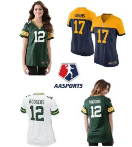 Camisa Green Bay Packers - 12 Aaron Rodgers - 17 Davante Adams - 80 Jimmy Graham - 23 Jaire Alexander- FEMININA