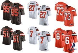 Camisa Cleveland Browns - 6 Baker Mayfield  - 23 Joe Haden - 73 Joe Thomas - 95 Myles Garrett - 13 Odell Beckham Jr