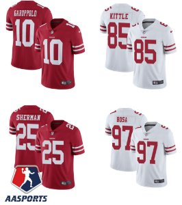 Camisa San Francisco 49ers - 10 Jimmy Garoppolo - 16 Joe Montana - 25 Richard Sherman - 85 George Kittle - 97 Nick Bosa - 11 Marquise Goodwin