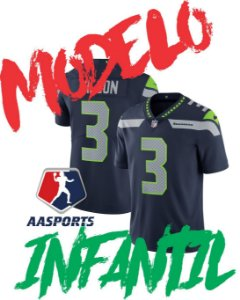 Camisa Seattle Seahawks - 3 Russell Wilson - modelo Youth / Kids