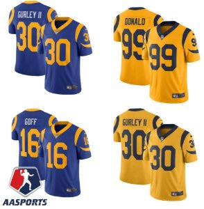 Camisa Los Angeles Rams - 16 Jared Goff - 30 Todd Gurley - 99 Aaron Donald - Versão Retrô