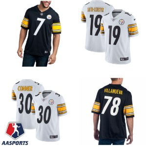 Camisa Pittsburgh Steelers - 7 Ben Roethlisberger - 19 Juju Smith-Schuster - 30 James Conner - 78 Alejandro Villanueva