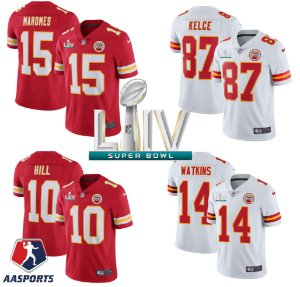 Camisa Kansas City Chiefs - 10 Tyreek Hill - 14 Sammy Watkins - 15 Patrick Mahomes - 87 Travis Kelce - com patch do Super bowl LIV