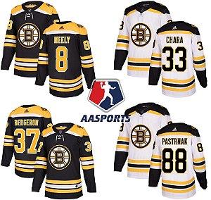 Camisa Boston Bruins - 33 Zdeno Chara - 37 Patrice Bergeron - 88 David Pastrnak - 40 Tuukka Rask