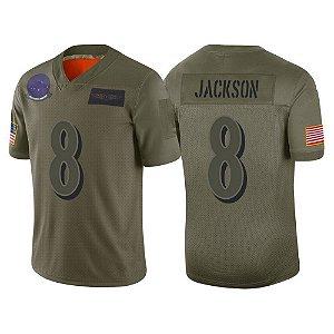 Camisa Baltimore Ravens - 8 Lamar Jackson - Salute to Service