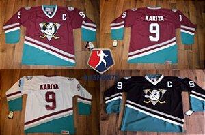 Camisa Anaheim Mighty Ducks - 8 Teemu Selanne - 9 Paul Kariya - 15 Ryan Getzlaf