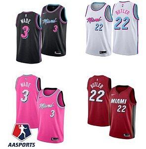 Camisa Miami Heat - City Edition Rosa - 3 Dwyane Wade - 22 Jimmy Butler - 14 Tyler Herro -  escolha qualquer jogador do time