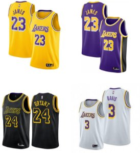 Camisa Los Angeles Lakers - 23 LeBron James - 3 Anthony Davis - Montrezl Harrell - Dennis Schroder - escolha qualquer jogador do time