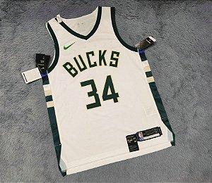 Camisa Milwaukee Bucks - Authentic Jersey - 34 Giannis Antetokounmpo  - personalizada - escolha qualquer jogador do time