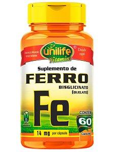 "FERRO QUELATO ""FE"" 500MG 60 CÁPSULAS UNILIFE"