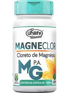 MAGNECLOR CLORETO DE MAGNÉSIO P.A. 60 CÁPSULAS 600MG UNILIFE