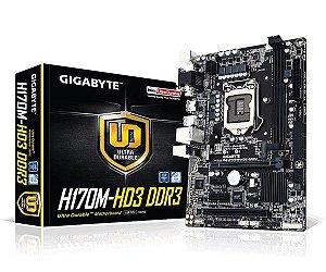 Placa-Mãe GIGABYTE Intel GA-H170M-HD3 DDR3 LGA 1151 mATX Raid USB 3.0