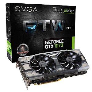 Placa de Vídeo VGA EVGA Geforce GTX 1070 FTW DT Gaming ACX 3.0 8GB GDDR5 256Bit 08G-P4-6274-KR