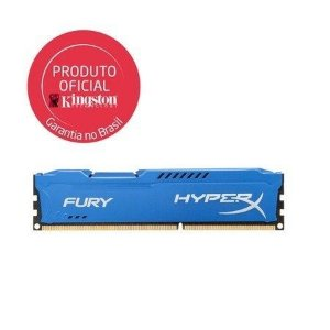 Memória Kingston 4GB 1600MHz DDR3 CL10 DIMM HyperX FURY Blue