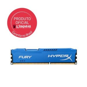 Memória Kingston HyperX FURY 8GB 1600MHz Azul DDR3 CL10 HX316C10F/8
