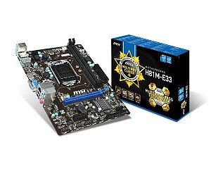 Placa-Mãe MSI H81M-E33 Military Class 4 Intel LGA 1150 USB 3.0 HDMI