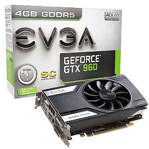 Placa de Vídeo VGA GTX 960 4GB EVGA GeForce SC DDR5 128 bits 04G-P4-1962-KR