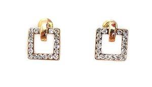f63ef7d9475 Brinco quadrado pequeno banhado em ouro 18k