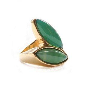 e4424666ba1 Anel duas folhas com pedra natural ágata verde banhado em ouro 18k