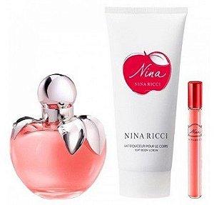 Kit Nina Ricci Eau de Toilette 80ML + Mini 10ML + Loção Corporal 75 ml- Perfume Feminino