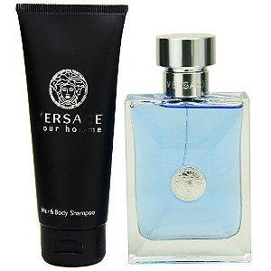 Kit Versace Pour Homme Versace  Eau de Toilette 100 ml + shampoo do corpo / cabelo  150 ml