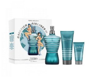 Kit Jean Paul Gaultier Le Male - Gaultier Airlines - Perfume Eau de Toilette 125ml + Gel de Banho 75ml + Pós barba 50ml