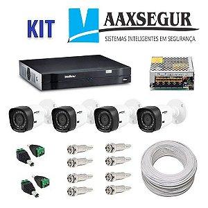 KIT de Câmeras de Segurança - Gravador Intelbras 1004 HDCVI + 4 Câmeras 1120 Bullet HD 720p + Acessórios