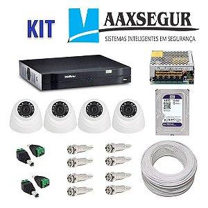 KIT de Câmeras de Segurança - Gravador Intelbras 1004 HDCVI + 4 Câmeras 1120 Dome HD 720p + HD Sata Western Digital Purple 1TB + Acessórios