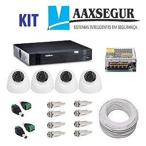 KIT de Câmeras de Segurança - Gravador Intelbras 1004 HDCVI + 4 Câmeras 1120 Dome HD 720p + Acessórios