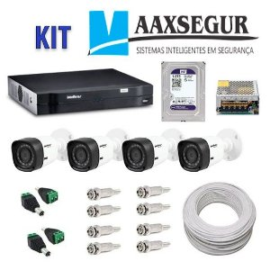 KIT de Câmeras de Segurança - Gravador Intelbras 1004 HDCVI + 4 Câmeras 1120 Bullet HD 720p + HD Sata Western Digital Purple 1TB + Acessórios