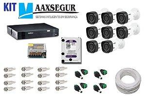 KIT de Câmeras de Segurança - Gravador Intelbras 1008 HDCVI + 8 Câmeras 1120 Bullet HD 720p + HD Sata Western Digital Purple 2TB + Acessórios