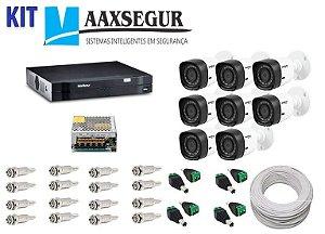 KIT de Câmeras de Segurança - Gravador Intelbras 1008 HDCVI + 8 Câmeras 1120 Bullet HD 720p + Acessórios
