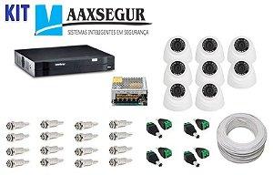 KIT de Câmeras de Segurança - Gravador Intelbras 1008 HDCVI + 8 Câmeras 1120 Dome HD 720p + Acessórios