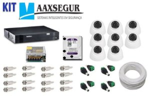 KIT de Câmeras de Segurança - Gravador Intelbras 1008 HDCVI + 8 Câmeras 1120 Dome HD 720p + HD Sata Western Digital Purple 2TB + Acessórios