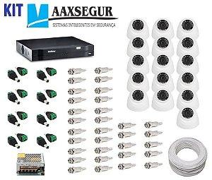 KIT de Câmeras de Segurança - Gravador Intelbras 1016 HDCVI + 16 Câmeras 1120 Dome HD 720p + Acessórios