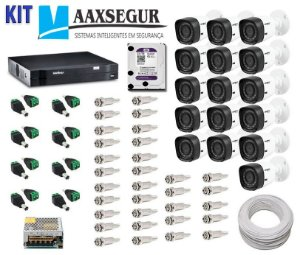 KIT de Câmeras de Segurança - Gravador Intelbras 1016 HDCVI + 16 Câmeras 1120 Bullet HD 720p + HD Sata Western Digital Purple 2TB + Acessórios
