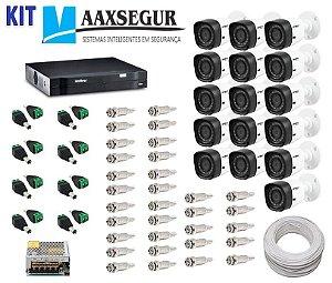 KIT de Câmeras de Segurança - Gravador Intelbras 1016 HDCVI + 16 Câmeras 1120 Bullet HD 720p + Acessórios