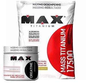 Kit Volume Corporal e Peso (Mass Titanium 3kg + Creatine 150g) - Max Titanium