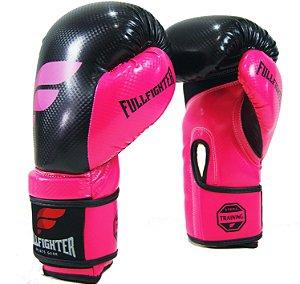 Luva Boxe Carbon Preta c/ Rosa - Full Fighter