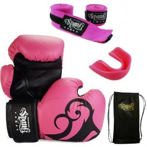 Kit Treino Spank Rosa 14 oz - Muay Thai