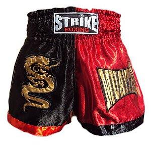 Shorts Muay Thai Kick Boxing Vermelho e Preto - Strike