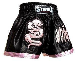 Short de Muay Thai Dragão Preto com Rosa - Strike
