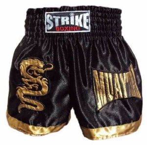Shorts Muay Thai Kick Boxing Preto com Dourado - Strike