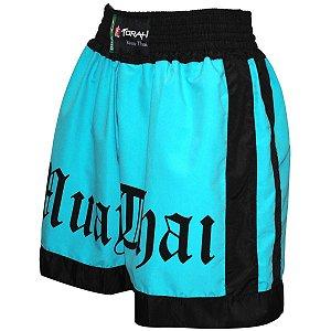 Short Muay Thai Verde Agua com Preto - Torah